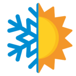 Logo przedstawiające niebieski płatek śniegu i żółte słońce