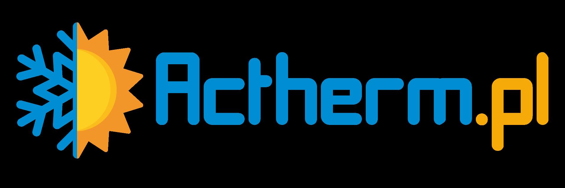 Pełne logo firmy Actherm.pl w kolorze żółtym i niebieskim